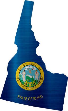 フラグはアイダホ州イラストをマップします。 写真素材 - 82603385