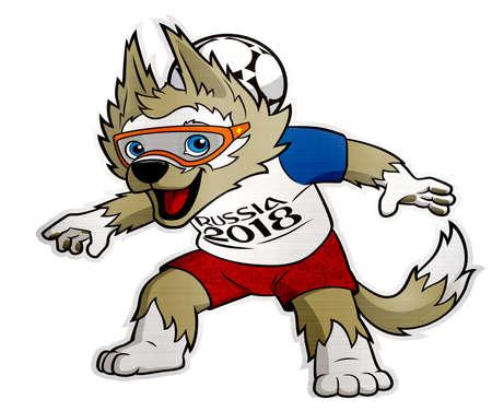 Zabivaka 2018 Russland Tasse Maskottchen Wolf Standard-Bild - 82782531
