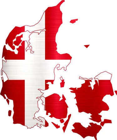 flag map denmark illustration Stock Photo