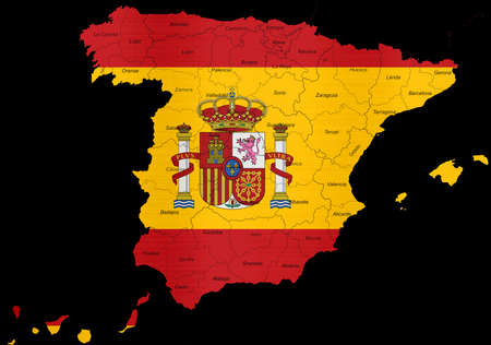 Spain Flag Map Regions Provinces Stock Photo, Picture And Royalty ...