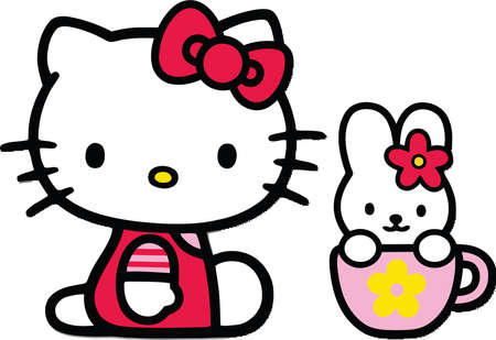 Hello Kitty And Bunny illustration Redakční