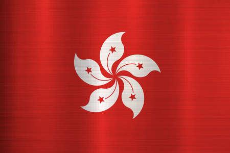 flag hong kong metal texture Stock Photo