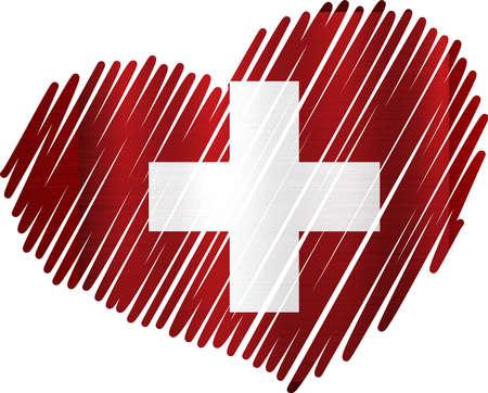 switzerland heart flag metal texture