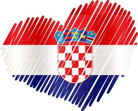 늘어선 된 심장 크로아티아 금속 질감