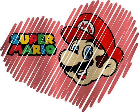 illustraion: Lined Heart super mario metallic texture