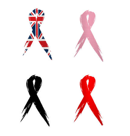 ribbon  england country aids cancer mourning  illustration