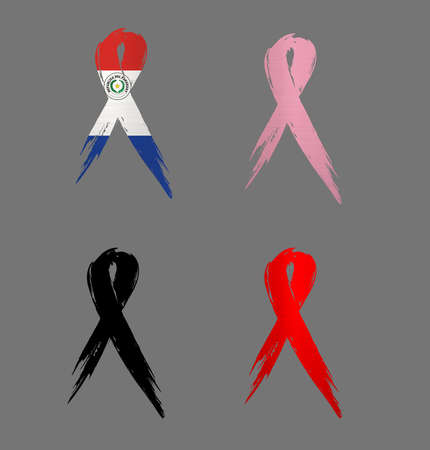 ribbon  paraguay country aids cancer mourning  illustration