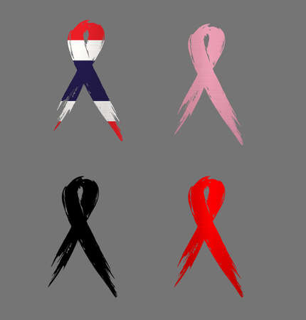 ribbon  thailand country aids cancer mourning  illustration