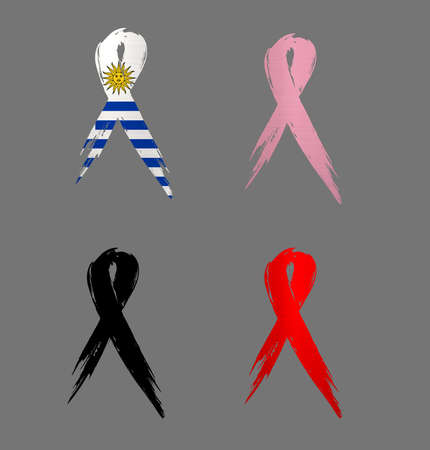 ribbon  uruguay country aids cancer mourning  illustration Stock Photo