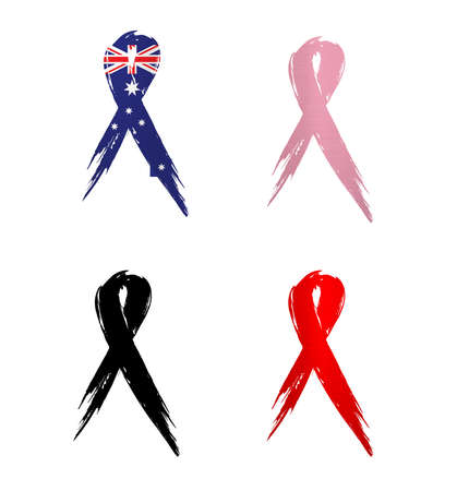 Cancer awareness ribbons with Australian flag Banco de Imagens