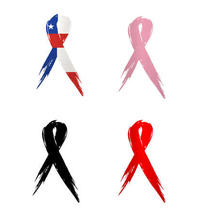 ribbon chile country aids cancer mourning  illustration