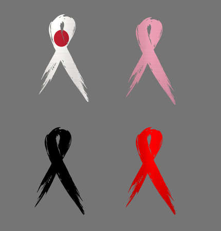ribbon japan country aids cancer mourning  illustration