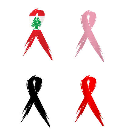 ribbon lebanon country aids cancer mourning  illustration Banco de Imagens