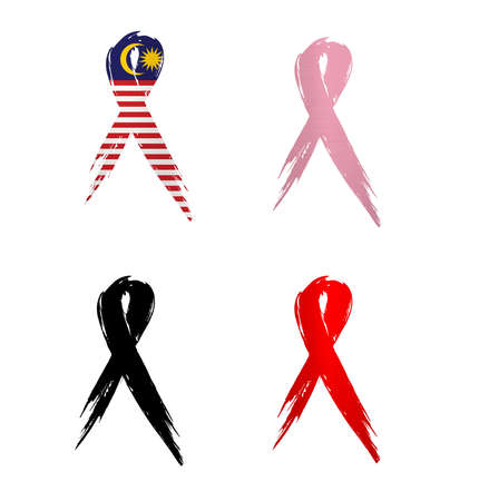 ribbon malaysia country aids cancer mourning  illustration Banco de Imagens