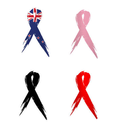 ribbon new zealand country aids cancer mourning  illustration