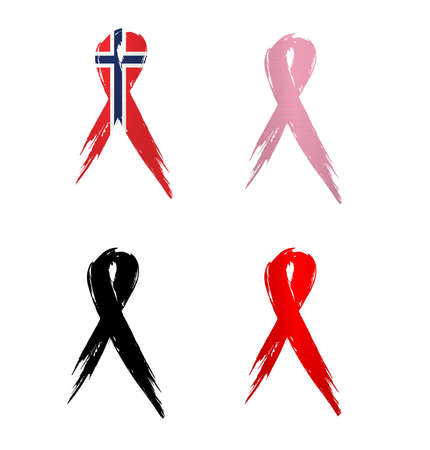 ribbon norway country aids cancer mourning  illustration