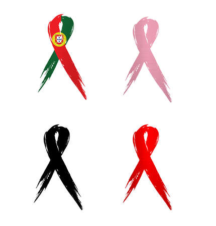 ribbon portugal country aids cancer mourning  illustration