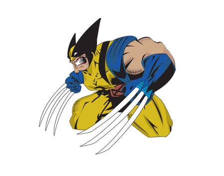 wolverine x-men superhero claws illustration