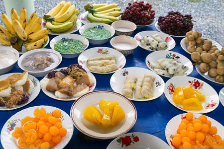 thai asian dessert fruits plates Stock Photo