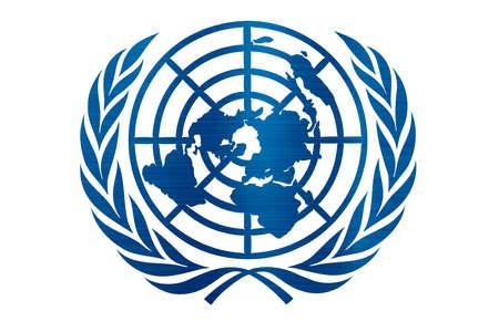 united nations flag illustration metallic texture Redactioneel