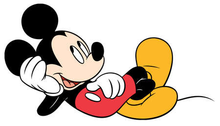 mickey mouse character cartoon  lying down 에디토리얼