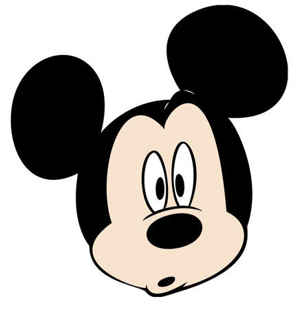 mickey mouse head character cartoon worried astonished illustration Editorial