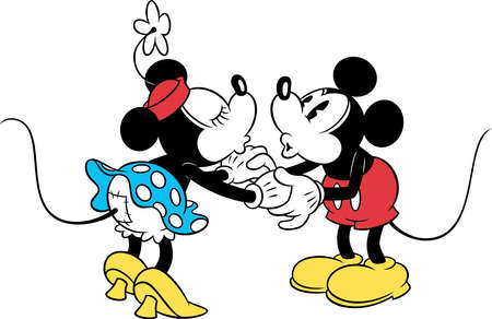 minnie mickey couple love  holding hands kissing vintage illustration cartoon