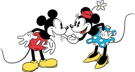 minnie mickey couple love affection vintage illustration cartoon