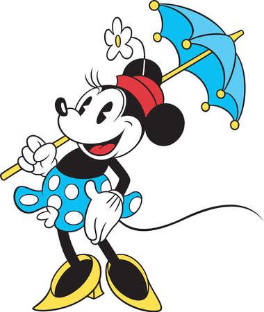 minnie mouse blue dress  posing umbrella cartoon illustration Editorial