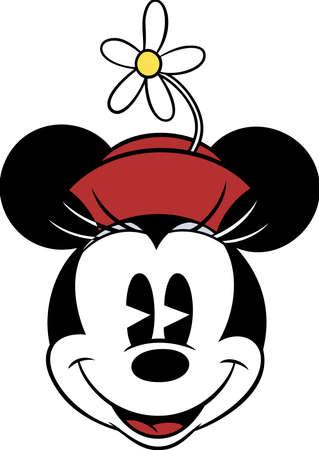 minnie mouse head pink happy smile cartoon vintage illustration