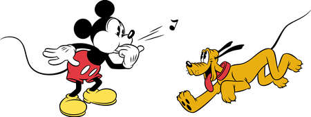 mickey mouse whistling calling  pluto character cartoon illustration