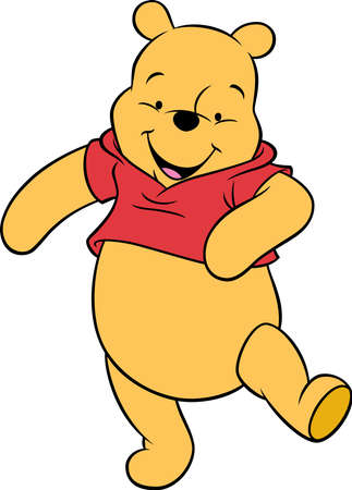 Winnie the Pooh bear cartoon  walking happy illustration