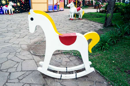 wooden horse outdoors traditional christmas toy Archivio Fotografico - 99084382