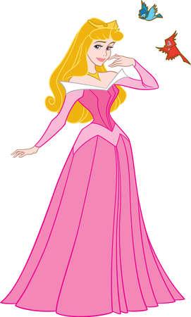 princess Aurora blonde illustration pink dress fairytale birds flying 報道画像