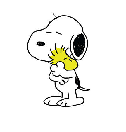 Woodstock Peanuts and Snoopy hugging illustration friends