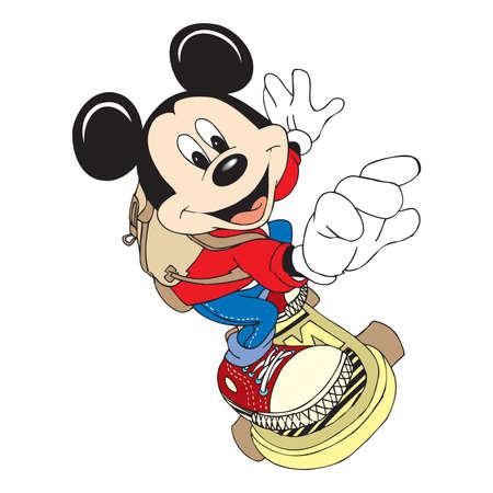 mickey mouse character cartoon skateboard sport llustration