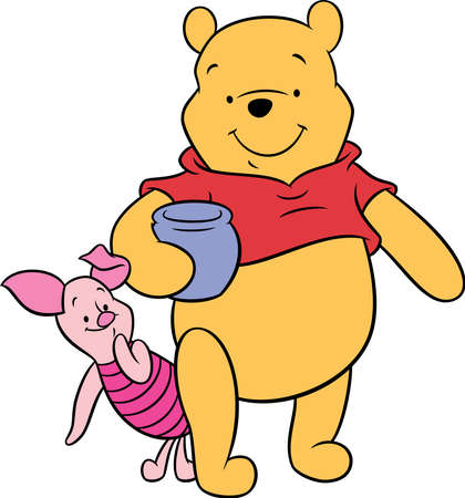 Winnie the Pooh bear cartoon piglet honey pot illustration