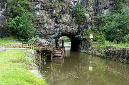 Tangua grotto stones Curitiba Brazil wooden walkway grass