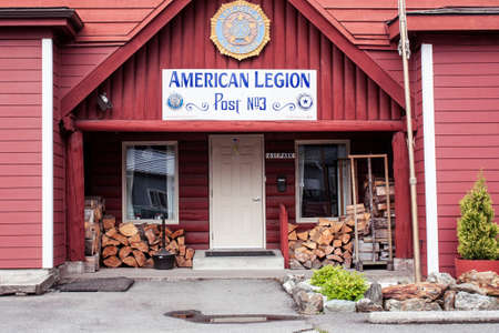 american legion post Alaska red wooden building architecture veteran