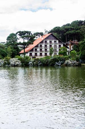 park black lake city Gramado Brazil araucaria tree vegetation building architecture
