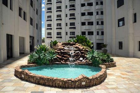 building rock stones waterfall fountain garden