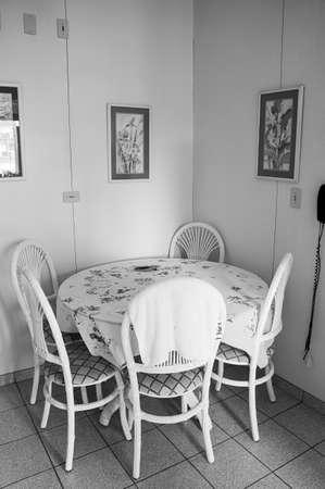 kitchen round table dining room nobody architecture design black white