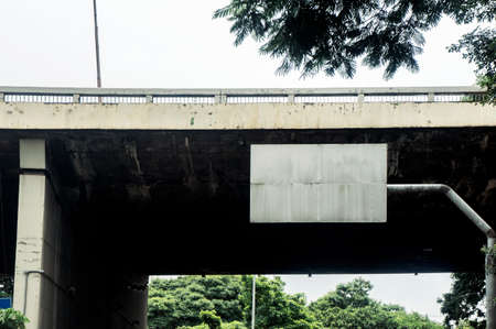 sign post under the bridge empty blank Stock Photo