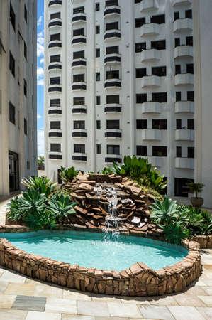building rock stones waterfall fountain garden public area