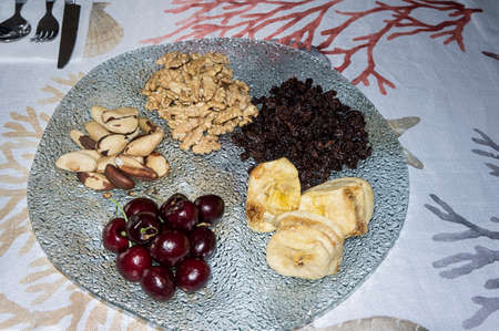 celebration dried fruits nuts appetizer plate top view