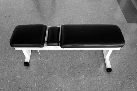 benche gym fitness nobody indoors equipment black white Stock Photo