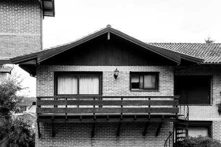 Colonial German architecture bricks and wooden house rustic in black and white