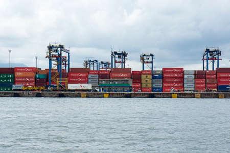 port of Santos Brazil containers maritime transportation dock Editorial