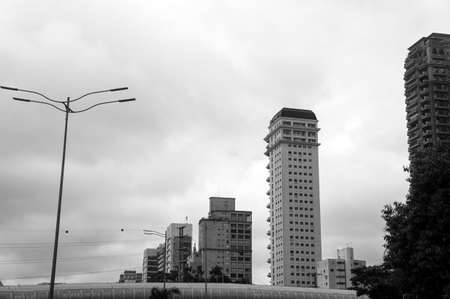 tiete marginal building architecture urban view city Sao Paulo Brazil black white Stock Photo