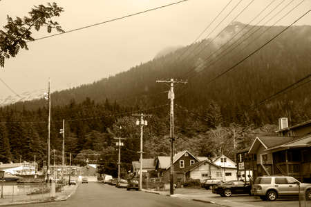 Alaska traditional wooden architecture houses rustic inrs mountain cloudy vintage
